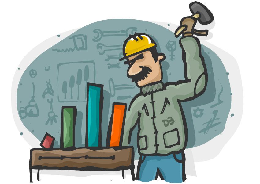 مردی در کارگاه مشغول ساخت نمودارها با پتک - تصویرسازیی: فرزان بالکانی