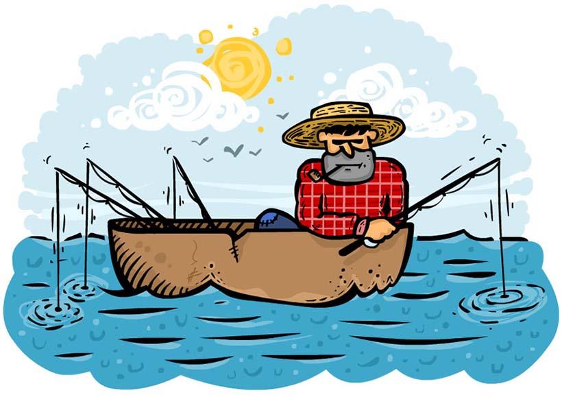 فردی داخل قایق نشسته و با چندین چوب ماهیگیری، ماهی میگیرد