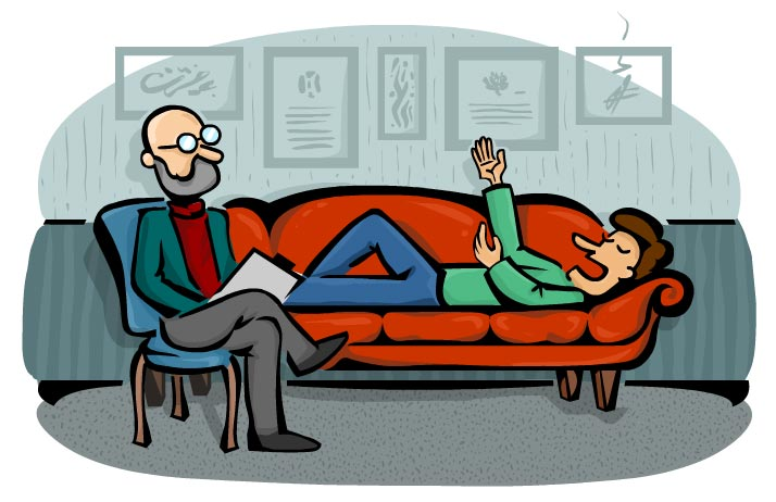 تصویر روانشناسی که روی صندلی نشسته و صحبت کردن یک برنامهنویس که دراز کشیده گوش میکند